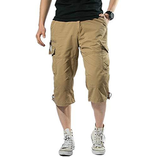 GenGXINLIN Short pour homme avec poches, plusieurs poches en coton gris foncé, respirant et décontracté, confortable pour homme