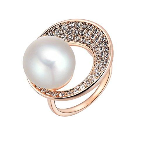PAURO Rosa Donna Fede Nuziale Perla Placcato in Oro Anello con Zirconi AAA Bianco Spianare Taglia 17