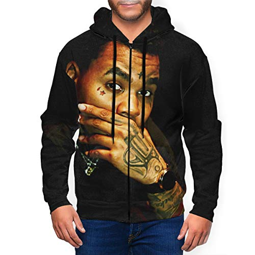 JeccLife Men's K-evin-G-ates Pockets Hoodie Long Sleeve Zip Up Hoodie Hooded Sweatshirt XXL Black