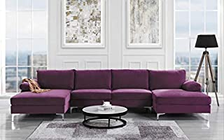 789bcaa5090ce Modern Large Velvet Fabric U-Shape Sectional Sofa