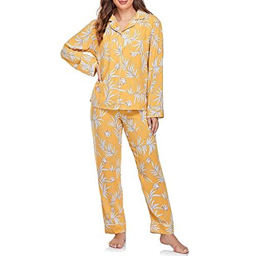 Sylanfia Conjunto de Pijama para Mujer Ropa de Dormir de Manga Larga Estampado Floral Ropa de Dormir con Botones de salón de 2 Piezas