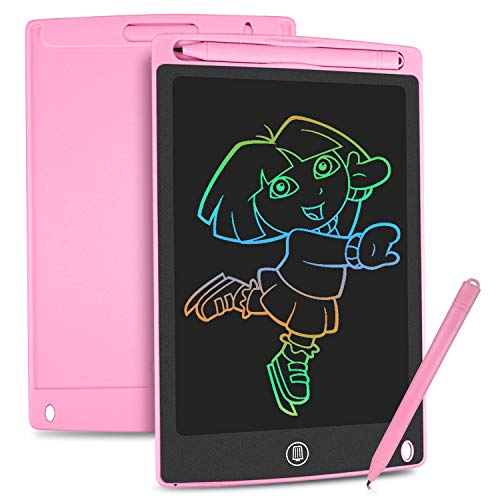 HOMESTEC Tavoletta Grafica LCD con Display Colorato 8,5 Pollici, Tavoletta Scrittura da Disegno Cancellabile con Scheda Elettronica con Pulsante Elimina e Interruttore di Blocco, Salva Carta (Rosa)