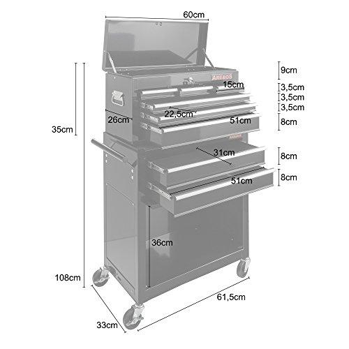 Arebos Werkstattwagen 9 Fächer/zentral abschließbar/Anti-Rutschbeschichtung/Räder mit Festellbremse/Massives Metall/rot oder schwarz (Schwarz) - 9