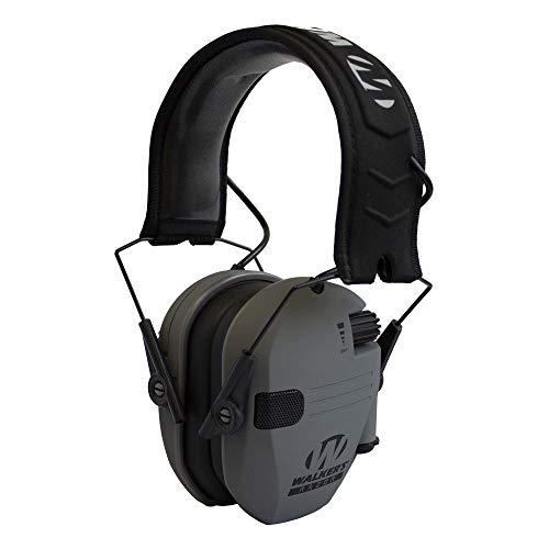 Walker's Razor Slim Compact Folding Ear & Hearing Protection Electronic Shooting Ear Muffs, Smoke Gray