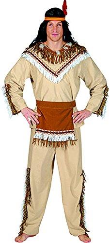 Halloweenia - Indianer Kostüm mit Fransen und Federn für Herren, L, Mehrfarbig