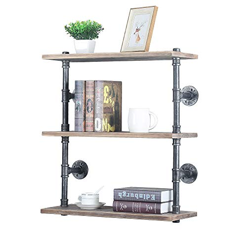GWH Industrial Pipe Shelf Wall Mounted,Steampunk Real Wood Book Shelves,3 Tier Rustic Metal Floating Shelves,Wall Shelving Unit Bookshelf Hanging Wall Shelves,Farmhouse Kitchen Bar Shelving(24in)