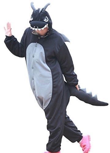 wotogold Pigiama di Drago Nero Animale Costumi Cosplay per Adulti Unisex with Horn Black