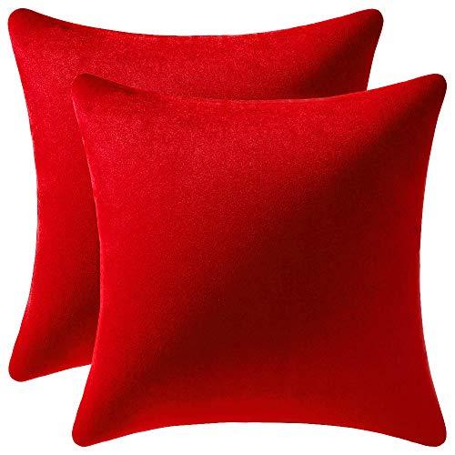 DEZENE Throw Pillow Covers 18x18 Red: 2 Pack Cozy Soft Velvet Square Decorative Pillow Cases for Farmhouse Home Decor