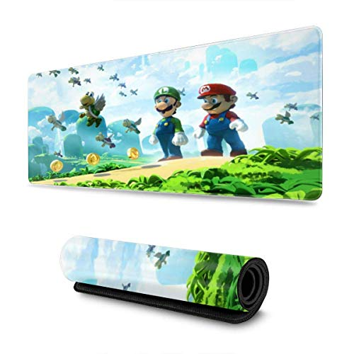 OKIJH Alfombrilla de ratón Super Mario Bros Mouse Pad Rectangle Non-Slip Rubber Electronic Sports Oversized Large Mousepad Gaming Dedicated,for Laptop Computer & PC 11.8X31.5 Inch