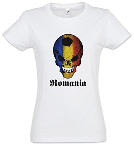 Classic Romania Football SKULLFLAG Damen T-Shirt– Fußball Fan Hooligan Totenkopf Banner Fahne Rumänien Damen T-Shirt Größen XS - 2XL