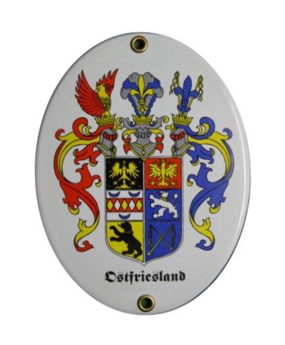 Ostfriesland Emaille Schild Ostfriesland 11,5 x 15 cm Emailschild Oval.
