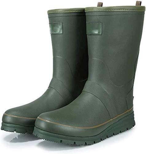 Botas de Lluvia Botas de Lluvia cálidas del Tubo Medio de los Hombres Botas de Lluvia Antideslizantes Resistentes al Desgaste Botas (Color : Dark Green, Size : 44 EU)