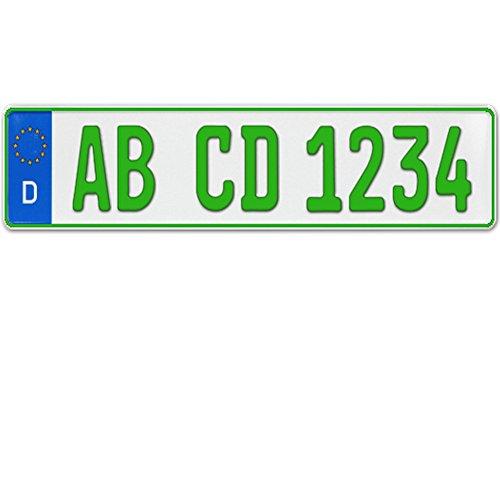 1 x EU Kennzeichen grün Traktor Sportanhänger Arbeitsgeräte Größe 520 x 110 mit individueller Prägung nach Ihren Vorgaben + KFZ Schein Schutzhülle