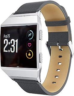 コンパチブル Fitbit Ionic 時計バンド 本革 交換ベルト ハンドメイド レザー ビジネススタイル (グレー)