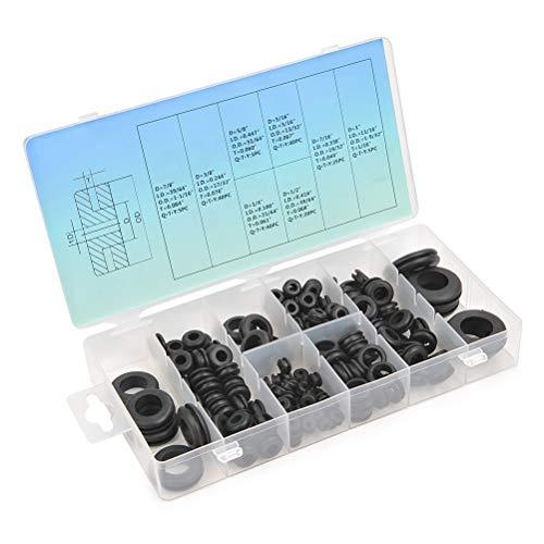 TIMESETL 180Stück Dichtungringe Gummi Unterlegscheiben Set, Gummitülle 8 Verschiedene Sortiment O-Ring Elektrischer Leiter Unterlegscheiben für Draht, Stecker und Kabel