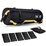 Workout Sandbag for Fitness, Heavy-Duty Weight Training Sand Bag with Empty Filler Bags for Full Body Exercises (Yellow)