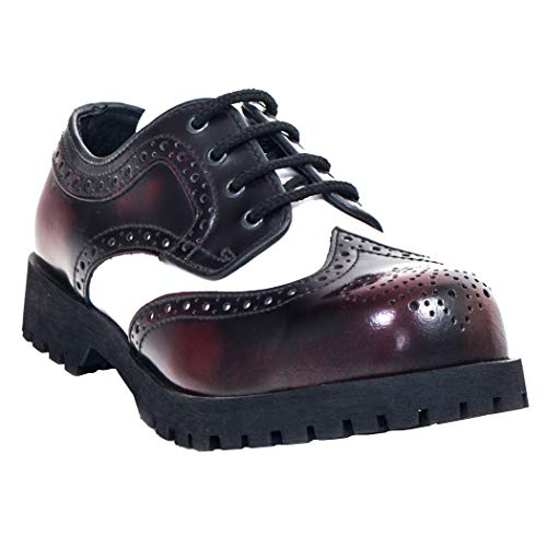 Boots & Braces - Budapester Burgundy / Weiss Schuhe 4-Loch Rangers Stahlkappe White