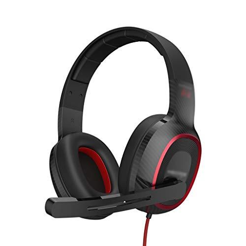 WXIANG Cascos Auriculares de Juego sobre Oreja 7.1 Sonido Envolvente y Ruido Cancelación de Ruido Earpads Suaves para PC PS4 PS5 Xbox One Auriculares Gaming (Color : Black)
