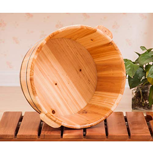 Bain de Pieds Barrel - Pieds en Bois Naturel Bain barrique Pieds Solides Spa Seau Bain Bassin Bowl Muscle Massager Deep Sleeping 21cm High/No Bucket Couverture