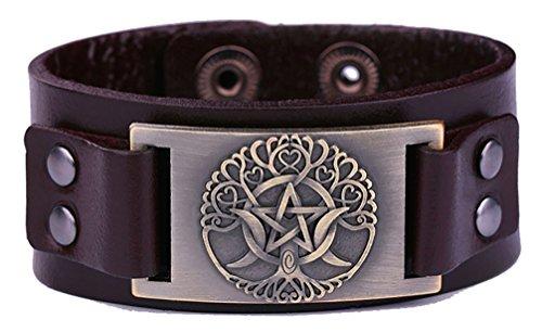 My Shape Árbol de la vida Triple Luna Diosa Pulsera de cuero genuino Pentagrama Wiccan Amuleto para hombre (bronce antiguo, marrón)