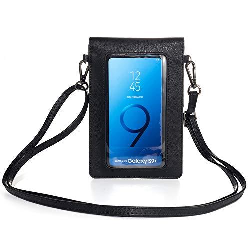 Touchscreen-Geldbörse mit Klarsichtfenster, Schultergurt, für Mädchen & Frauen, Leder, Crossbody-Tasche Motorola Moto G8 Plus, G7, G Power Z4, G6, LG V50, V40, ThinQ, OnePlus 8, 7 Pro (schwarz)