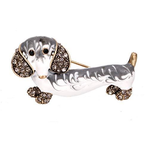 Weryffe – Broche de perro, broche de perro, broche de animales, broche esmaltado, accesorios, sombrero, decoraciones 4.4 * 2.4 cm blanco