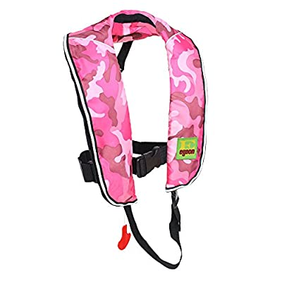 Top Safety Child Life Jacket with Whistle - Auto Inflatable Slim Lifejacket Life Vest PFD for Children Kids Youth - Boating Fishing Sailing Kayaking Surfing Swimming - Adjustable Life Saving Vest