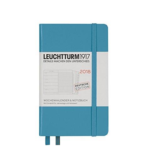 LEUCHTTURM1917 355092 Wochenkalender & Notizbuch 2018 Pocket (A6), Nordic Blue, Deutsch