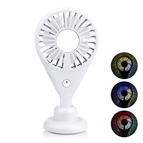Hebey Handheld mini-ventilator met ledverlichting, draagbare persoonlijke ventilator, USB-hangende ventilator voor baby's, kinderen, vrienden, cadeaus