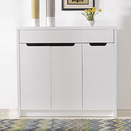 LIUGJ - Zapatero moderno y minimalista de 3 puertas para pintar el salón, zapatero brillante, armario para guardar los zapatos, color blanco claro, aprox. 1,1 m de largo aprox. 1,1 m.