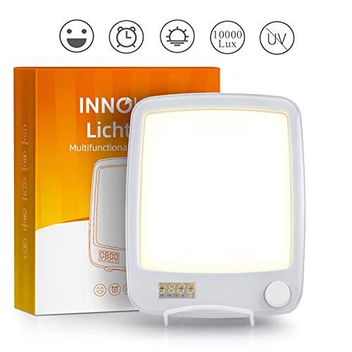 10000 lux LED Tageslichtlampe Lichtwecker, Tageslichtwecker Tischlampe mit 20 Helligkeitsstufen, UV-freie, Sonnenaufgang Wecker mit Licht & Naturgeräuschen - INNObeta Lichtopia