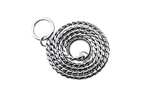 Z-Meng P Choke Collier Serpent Collier de Dressage de Chien en cuivre/Inoxydable résistant pour Animal Domestique Corde de Cou, Sliver