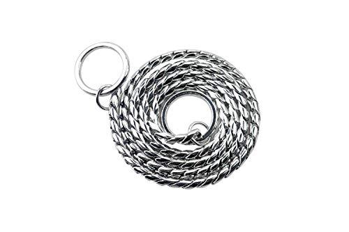 Z-Meng Collar de cadena para perro con cadena de serpiente Collar de entrenamiento para perros de cobre/acero inoxidable resistente al cuello de mascota, color plateado (4 mm x 65 cm)