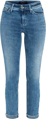 Cambio Damen Jeans mit gefranstem Saum Piper Short Größe 4627 Blau (blau)