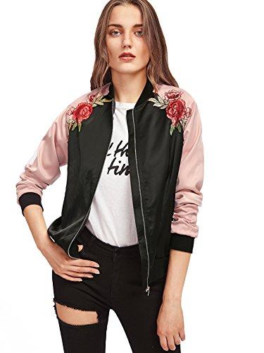 Floerns Women's Casual Short Embroidered Floral Bomber Jacket Black Pink S