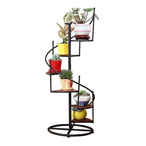 Drehen Sie die Leiter 6 Tier Blumenregale Eisen Metall Blumenregale Stehregal für 6 Pflanzen Blumentöpfe Halter Regale Standregal Garten Lagerregal für Indoor Wohnzimmer Balkon Dekoration in Schwarz
