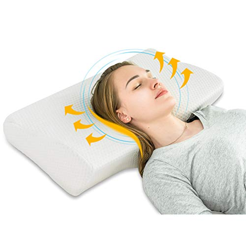 Meiz Memory Foam Cervical Pillow, Orthopedic Pillow, Contour Pillow for Neck and Shoulder Pain, Ergonomic Orthopedic Pillow for Side Sleepers, Back and Stomach Sleepers with Washable Pillowcase, White