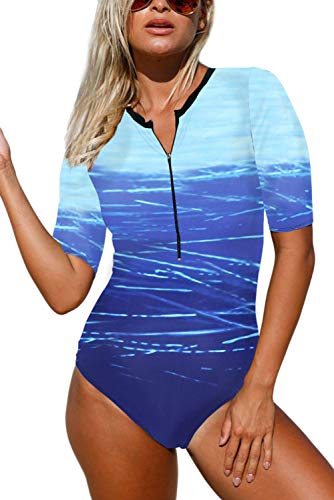 Aranmei Womens Bathing Suit Zip Front Printed Half Sleeve One Piece Swimsuit Swimwear (Ocean Blue, Large)