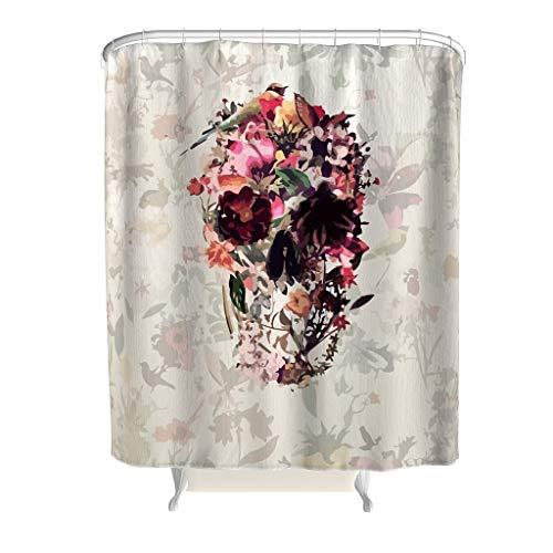 XunYun-Curtain Duschvorhang mit Totenkopf-Motiv, aus Stoff, mit ABS-Haken - Muster von Hand Zeichnungs-Effekt, für Badezimmer, weiß, 180x200cm