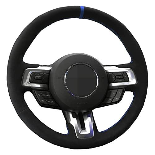 BTOEFE Cubierta del Volante del Coche DIY Cosido a Mano de Gamuza de Cuero Genuino Negro, para Ford Mustang 2015 2016 2017 2018 2019