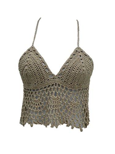 Black Bikini Halter Top Handmade Crochet Crop Top (Khaki, M)