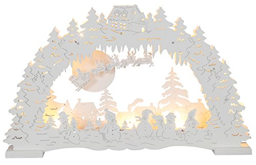 Star Duitse Kerstmis LED Kandelaar, Hout, Wit, 28 x 43 cm-P