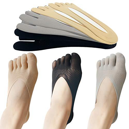 EQLEF Calcetines Dedos, Antideslizantes, Calcetines de Cinco Dedos, Calcetines Suaves de Corte bajo, Transpirables para Ballet, Yoga, 6 Pares