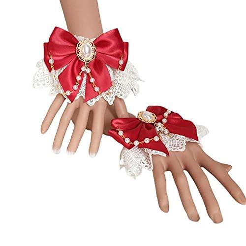 XKMY Lolita - Brazalete de encaje japonés, diseño de Lolita japonesa, doble capa, encaje floral, lazo, pulsera de cadena de perlas de imitación (color : R)