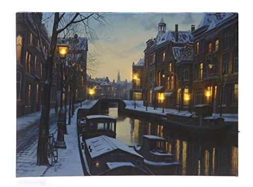 LED Bild Winter in Amsterdam Weihnachten Leinwand Wandbild 28x38cm