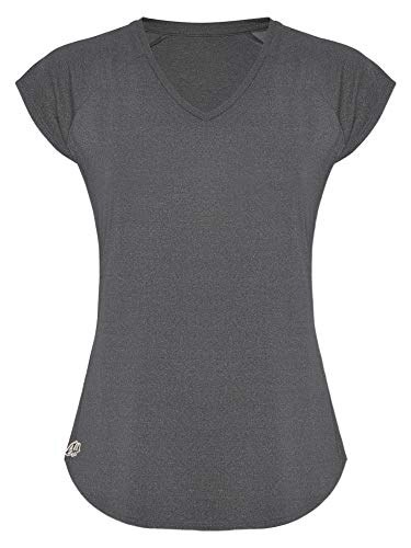 GO HEAVY Damen Fitness Funktions Sport T-Shirt Laufshirt Kurzarm Schnelltrocknend Yoga Sportoberteil | Grau M