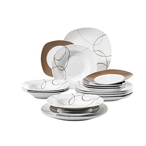 WECDS-E Juego de Platos de Cocina de Porcelana de cerámica de 18 Piezas Juego de vajilla con Plato de Cena, Plato de Postre, Plato Hondo para Sopa