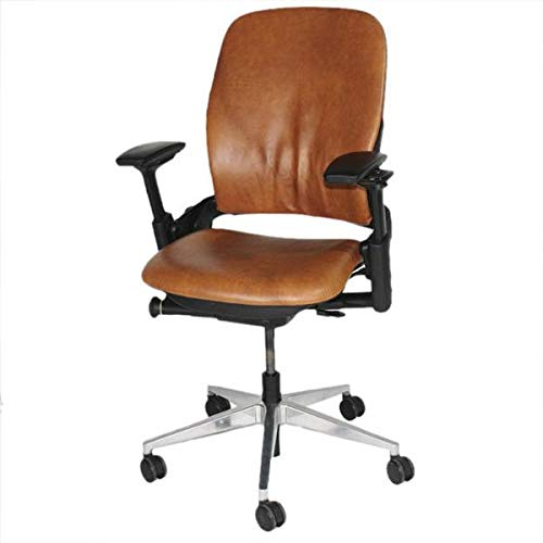STEELCASE Leap V2 Chair with Aluminium Base in New Tan Leather
