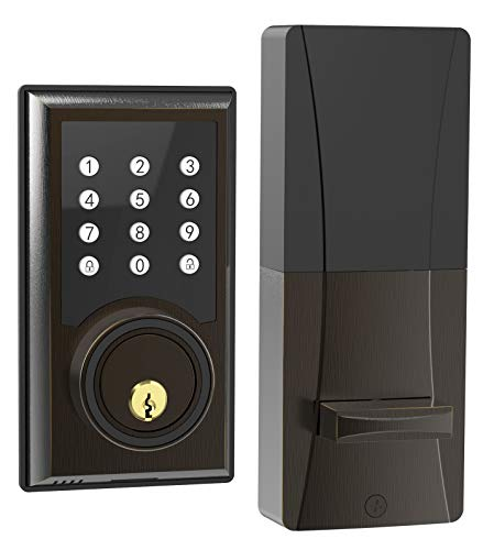 TURBOLOCK TL-201 Electronic Keypad Deadbolt Keyless Entry Door Lock w/ Code Disguise, 21 Programmable Codes, 1-Touch Locking + 3 Backup Keys, Bronze