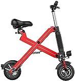WANGCAI Ambientazione Esterna Bici elettrica, Piccolo Portatile Mini Scooter Elettrico Leggero e Alluminio Folding Bike con i Pedali for l'esterno for Adulti (Color : Red)